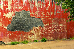 Down in Mississippi (54) (momentspause) Tags: canonef50mmf18 niftyfifty wall wallart cocacola canon5dmkiii mississippi red fading