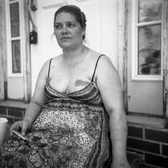 (patrickjoust) Tags: 6x6 medium format 120 tlr twin lens reflex black white bw home develop expired discontinued film blancetnoir blancoynegro schwarzundweiss manual focus analog mechanical patrick joust patrickjoust baltimore maryland md usa us united states north america estados unidos urban street city portrait person woman sitting highlandtown