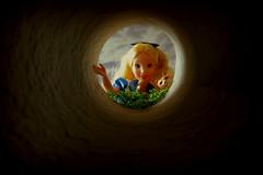 "4. ""Mr Rabbit!"" (Foxy Belle) Tags: doll disney alice wonderland diorama 1999 mattel outside scrapbook paper rabbit hole 1 16 playscale barbie cat dinah hink bot"