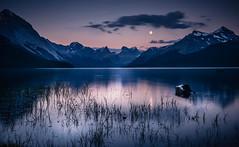 Full Moon on Maligne Lake (RMann88) Tags: maligne jasper rocky mountains lake water moon full sky sunset alberta canada landscape long exposure trees