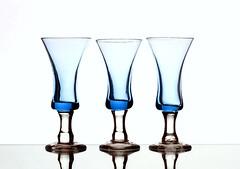 Blue Glass (Karen_Chappell) Tags: blue white glass three 3 glasses stilllife product