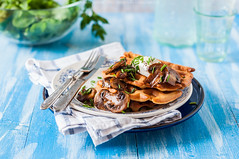 Potato Waffles with Mushrooms (dolphy_tv) Tags: appetizing background baked blue breakfast brunch button champignon cheese chive comfort cooked cooking cream crispy delicious dinner dish food fresh golden green healthy herbs homemade junk lunch meal morning mushroom napkin onion pile plate potato potatowaffle rustic sauce snack sourcream spring stack table tasty unhealthy vegetable vegetarian wafer waffle wooden