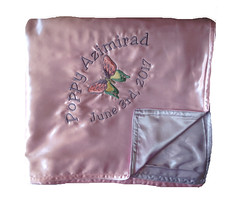 Satin Baby Blanket - two sided pink and lavender (initial_impressions) Tags: embroidered personalized twosidedsatinbabyblanket pinkandlavenderbabyblanket butterfly