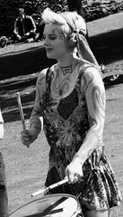 Carnival 2017 070 (byronv2) Tags: carnival carnival2017 edinburghfestivalcarnival edinburghfestivalcarnival2017 edinburghjazzbluesfestival edinburghjazzbluesfestival2017 festival newtown princesstreet princesstreetgardens edinburgh edimbourg scotland peoplewatching candid street performer park gardens blackandwhite blackwhite bw monochrome woman girl pretty beautiful portrait drum drums drummer drumming musician music