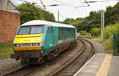 82308 Earlestown 21/07/2017 (Flash_3939) Tags: 67022 82308 mk3 dvt drivingvantrailer arrivatrainswales atw locohauled earlestown erl station triangle 1d31 gmwayfarer rail railway train uk july 2017