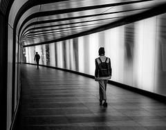 Striding on Stripes (Rachel Dunsdon) Tags: 2016 uk london kingsx lighttunnel mono stripes striding