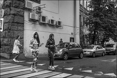 DR150904_0958D (dmitryzhkov) Tags: converse conversation pretty prettywoman two couple crossing crosswalk motion movement walk walker walkers pedestrian pedestrians sidewalk woman women lady sony alpha black blackandwhite bw monochrome white bnw blacknwhite bnwstreet day daylight art city europe russia moscow documentary journalism street streets urban candid life streetlife citylife outdoor outdoors streetscene close scene streetshot image streetphotography candidphotography streetphoto candidphotos streetphotos moment light shadow people citizen resident inhabitant person portrait streetportrait candidportrait unposed public face faces eyes look looks