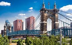 John A. Roebling Suspension Bridge. Kentucky (juanrodriguez72) Tags: suspensionbridge oh cincinati ky kentucky johnaroeblingsuspensionbridge bluesky