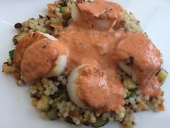 Scallops with red pepper cream sauce (htomren) Tags: phonepics food scallops