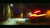 Abbeyhill Warp Car - with Anamorphic Bars (CarnivoreDaddy) Tags: car lighttrails improvisedtripod edinburgh night abbeyhill cinematic nikon d7000 sigma sigma175028 lightroom