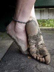Muddy and tough (Barefoot Adventurer) Tags: barefoot barefooting barefoothiking barefeet barefooter barefooted baresoles barfuss blacksoles muddysoles muddyfeet muddy mud anklet arches autumnbarefooting autumnsoles arch callousedsoles connected callouses strongfeet stainedsoles soles wrinkledsoles walking walk wetmud healthyfeet happyfeet hardsoles earthing earthstainedsoles earthsoles earth energy