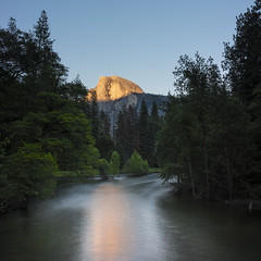Sunset colors of Yosemite (photosweden) Tags: yosemite california usa america halfdome dome mountain sky blue longexposure granite nature reflection river mirror sun sunset