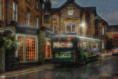 Catching the Bus in the Rain (Kev Walker ¦ 7 Million Views..Thank You) Tags: architecture building canon1855mm canon700d clouds cumbria england hdr historic kirkbylonsdale picturesque postprocessing riverlune southlakeland town westmorland rain bus reflections transport