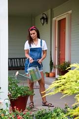 Show Me Your Gardener! (The Good Brat) Tags: colorado us garden porch pots water watering wateringcan brunette jewel fresh pretty gardener showmeyourgardener