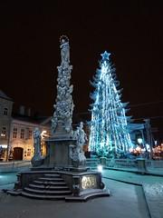 Kosice, Slovakia, Winter 2016 (Veronika Szalontayova) Tags: slovakia kosice winter light snow night plague column immaculata christmas tree
