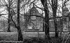 b&w hall (T.g.h.photography) Tags: old building blackandwhite black white trees castle garden northernireland nikon northern ireland oldandbeautiful creepy