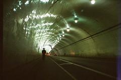 Walking Away (monodistortion) Tags: 35mm olympusstylusepic kodak400uc kodakultracolor400 tunnel selftimer selfportrait losangeles california downtown lightleak explored rollfilmweek rollfilmweek2017