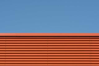 Orange wall with stripes