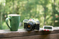 Modern Day Necessities (Ginny Williams Photography) Tags: coffee vintage camera iphone