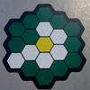 Sticker with Hexagons (Kevin Borland) Tags: sticker districtofcolumbia usa hexagons green yellow white columbiaheights ward1