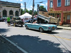 AN EARLY 1960's CHEVY CORVAIR (richie 59) Tags: ulstercountyny ulstercounty newyorkstate newyork unitedstates sunday weekend fordmotorcompany ford automobiles autos motorvehicles vehicles generalmotors chevrolet saugertiesny saugerties usa cars richie59 carshow outside people summer chevycorvair corvair 2017 july2017 july92017 sawyermotorscarshow 2010s hudsonvalley midhudsonvalley midhudson nystate us nys ny 1960scar americancar uscar 2door twodoor convertible corvairconvertible chevyconvertible backend taillights sideview bluecar chevy gm gmcar 1930fordcoupe 1930ford street sidewalks buildings trees mainstreet greencar fomoco