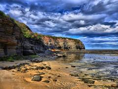 Warden head south I (elphweb) Tags: hdr highdynamicrange nsw australia wardenheadsouth headland beach rocky rocks rockformation cliff sea ocean water coast coastal skies sky cloud clouds sand sandy