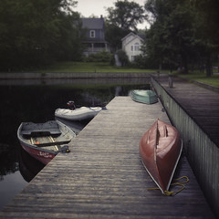 End of a summer day. (pjr100) Tags: summer dock boating art evening peace peaceful water lake canoe ontario canada