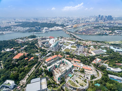 Aerial of Resorts Worlds and Universal Studios, Singapore