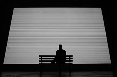 (Russell Siu) Tags: black white monochrome man sitting cinema movie life reflection past future time desire patience sehnsucht longing