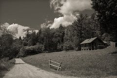 Bucolique (CTfoto2013) Tags: vermont newengland landscape sepia paysage bucolique champetre arbres trees foret forest cabane cabin fence barriere vintage retro clouds nuage montagnes mountains rupestre greenmountains light lumiere shadows ombre summer ete lumix panasonic gx7 mirrorlesscamera micro43 trail chemin dirtroad