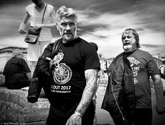 The boys are back in town. (Neil. Moralee) Tags: neilmoralee man men biker motorcyclist motorbike portrait candid street devon air ambulance ride out teignmouth support charity face couple two pair neil moralee nikon d7200 black white mono monochrome bw bandw blackandwhite angels hot clouds sky tatoo sleve old mature seaside uk hells