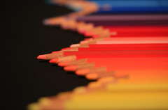 Zig zag rainbow (alideniese) Tags: macro closeup bokeh pencils colour colourful colourpencils blackbackground alideniese hbw 7dwf