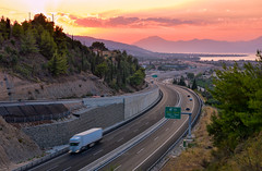 Aigio West (free3yourmind) Tags: aigio egio greece peloponnese west exit road highway truck cars sunset colorful transpot transportation system view
