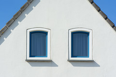 House with two blue windows (Jan van der Wolf) Tags: map169308v windows ramen house huis two roof dak symmetric symmetry symmetrie shadow shadows
