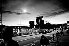 Hackney Wick (I M Roberts) Tags: hackneywick nightscene urbansetting urbanart towerhamlets eastlondon fujix100s bw