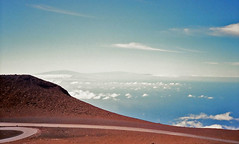 Haleakala ... early 90's. Big Island in the distance. (jcc55883) Tags: haleakala houseofthesun sky clouds horizon maui eastmaui eastmauimountains hawaii volcano film 35mmfilm oldfilm filmphotography canon 35mmcanon