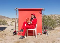Mattiel (J Trav) Tags: mattiel burgerrecords portrait california musicvideo joshuatree seamless red redsuit desert model musician book reading