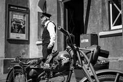 War on the Line (Silver Machine) Tags: warontheline watercressline ropley midhantsrailway railwaystation motorbike wwii festival 1940s secondworldwar blackwhite bw mono monochrome fujifilm fujifilmxt10 fujinonxf35mmf2rwr