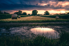 Puddle and Bales (HatCat Photography) Tags: sky landscape lake sunset water reflection nature river travel sun tree summer grass sony dawn cloud panoramic outdoors horizontal dusk hay straw vsco no person images