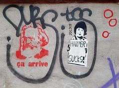 Karl Marx, Stephen Harper (Exile on Ontario St) Tags: ça arrive karl marx communism communist stephen harper sucks graffiti stencil stencils mileend groll montreal canadian canada politics politique capitalism political marxism mor montréal mile end français french