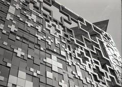 3d geometry (OhDark30) Tags: olympus 35rc 35 rc film 35mm monochrome bw blackandwhite bwfp fomapan 200 rodinal cube birmingham building architecture surfaces geometry