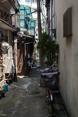 alley (kasa51) Tags: alley pole wire house tokyo japan 路地 セメント舗装 物干し台 ポリカ波板