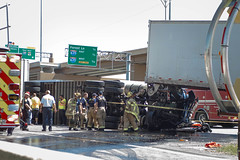 Multi-Vehicle Freeway Accident on I-35E Involving Two 18-Wheelers in Dallas (Shane Murphy - Emergency Incident Photographer) Tags: dallas fire rescue dfr dfw accident collision crash major serious 18 wheeler rollover fatality mva mvc pinned extrication hazardous materials hazmat diesel spill police investigation sheriff dso trapped north stemmons freeway texas tx usr jaws life station 3 gator pit 33 truck engine 43 field unit support scene emergency 911