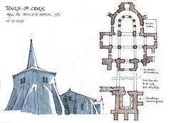 Toulx-Ste-Croix (gerard michel) Tags: france limousin creuse église tour plan sketch croquis