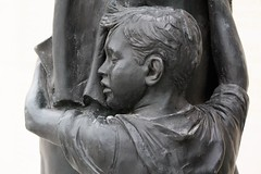 National Arboretum, England  - detail from main Memorial showing young boy hugging his mother. (rossendale2016) Tags: scarred mentally injury returned smelted iron foundry closed eyes youngster evacuee mausoleum cruel warfare children small shot death fighting parent father upset forces armed memorial statue detail department telegram hospital injured kill died dies holding round cry crying sadness one world replicates sad missing home come wont killed war mummy daddy son child mother mum armsround clings clinging bus hugging england arboretum national