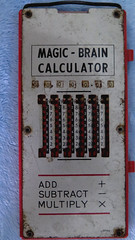 Only One App (Coyoty) Tags: calculator math arithmetic addition subtraction multiplication metal tabulator red blue white numbers black rusty antique old gadget device machine mechanical gears computer flickrfriday madenomore magicbraincalculator magicbrain corners gray grey x