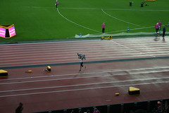 Michail Setis - celebrating Silver in the T44 200m (h_savill) Tags: london 2017 world para athletics championship stratford july stadium competition compete athelete atheletics disability spectator aport track field seat crowd olympic park t44 mens 200m final
