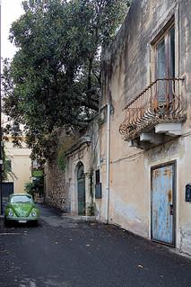 Old car in Taormina, Sicily, Italy