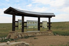 Interpretive Kiosk Along the Auto Tour (Patricia Henschen) Tags: interpretive kiosk sign pawneepioneertrails scenicbyway grassland grasslands pawneenationalgrasslands usda forestservice weld county weldcounty backroads colorado easternplains clouds autotour route
