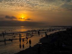 Sunset in Newport (MacroMarcie) Tags: sunset olympus penf beach newportbeach people landscape ocean